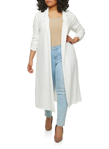 Plus Size Ruched Sleeve Duster,WHITE,large