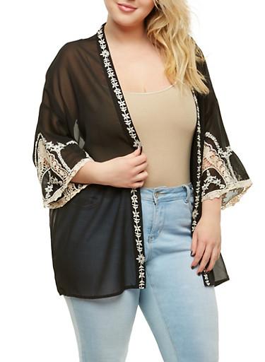 Plus Size Sheer Embroidered Kimono,BLACK,large