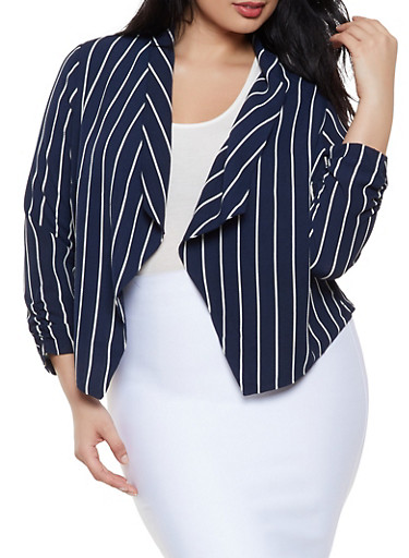 Plus Size Striped Crepe Knit Blazer,NAVY,large