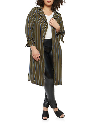 Plus Size Striped Tie Sleeve Duster,OLIVE,large