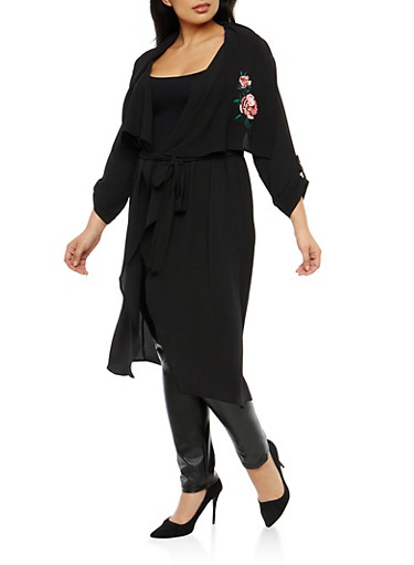 Plus Size Crepe Knit Floral Embroidered Duster,BLACK,large