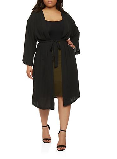 Plus Size Belted Kimono,BLACK,large