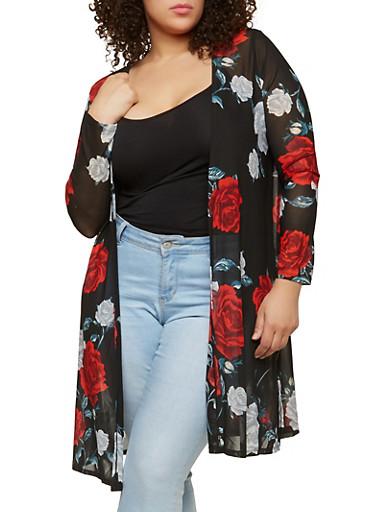 Plus Size Floral Mesh Kimono,BLACK,large