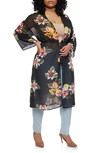 Plus Size Sheer Floral Duster,BLACK,large