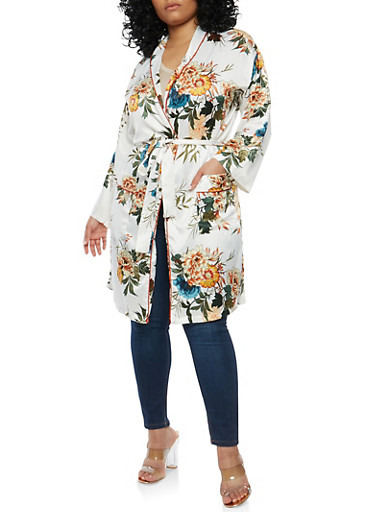 Plus Size Satin Floral Kimono at Rainbow Shops in Jacksonville, FL | Tuggl