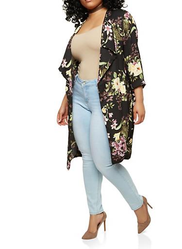 Plus Size Floral Kimono,BLACK,large