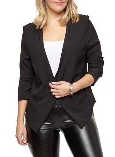 Plus Size Open Front Flyaway Blazer,BLACK,large