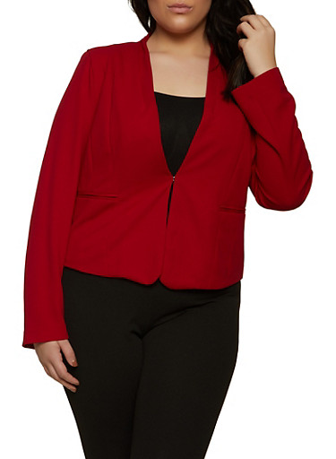 Plus Size Solid Knit Blazer,RED,large