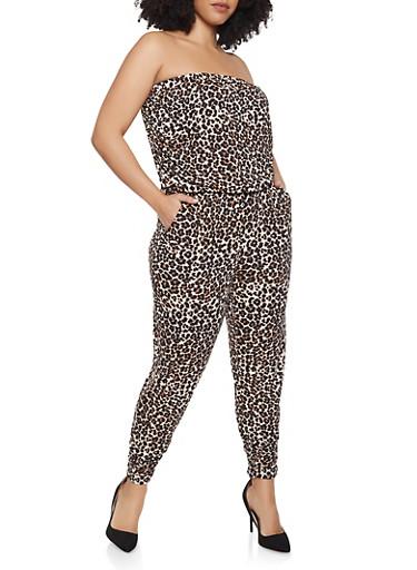 Plus Size Leopard Print Jumpsuit,BROWN,large