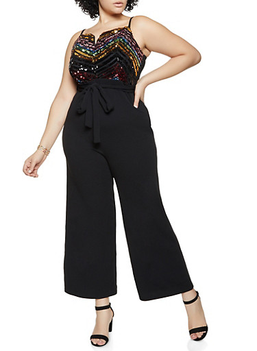 Plus Size Textured Knit Sequin Jumpsuit,BLACK,large