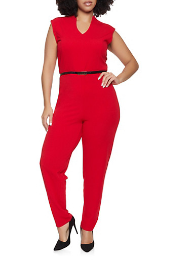 Plus Size Belted Jumpsuit,RED,large