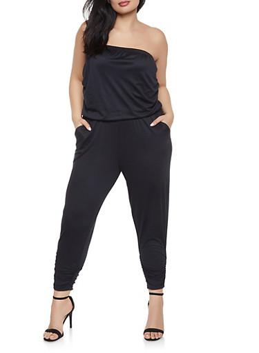 Plus Size Ruched Strapless Jumpsuit,BLACK,large