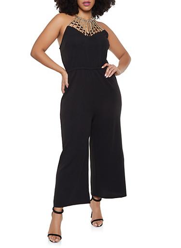 Plus Size Rhinestone Studded Jumpsuit,BLACK,large