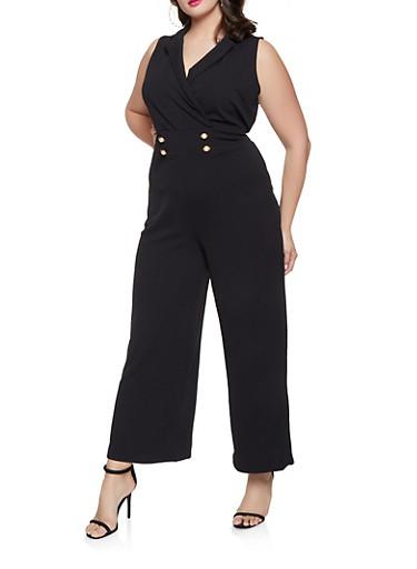 Plus Size Wide Leg Sailor Jumpsuit,BLACK,large