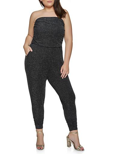 Plus Size Strapless Lurex Jumpsuit,BLACK,large