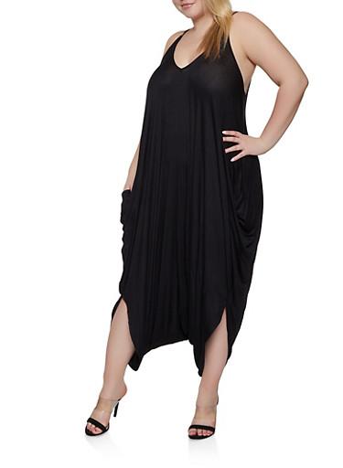 Plus Size Solid Harem Jumpsuit,BLACK,large