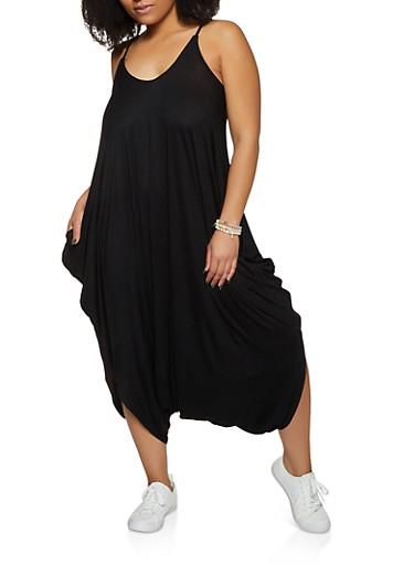 Plus Size Cami Harem Jumpsuit,BLACK,large