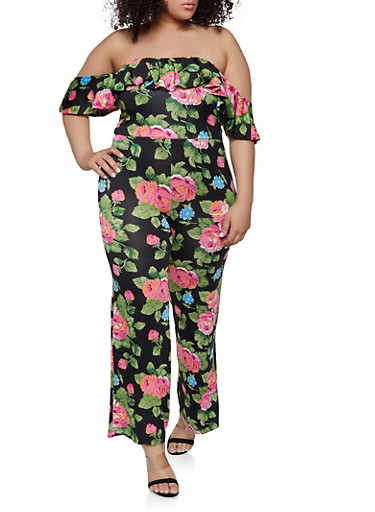 cf875ca40fb Plus Size Printed Off the Shoulder Palazzo Jumpsuit - Rainbow