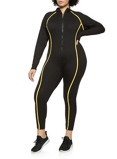 Plus Size Contrast Trim Soft Knit Jumpsuit,BLACK,large