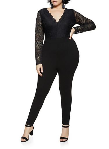 Plus Size Long Sleeve Lace Jumpsuit,BLACK,large
