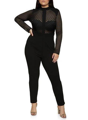 Plus Size Shadow Stripe Jumpsuit,BLACK,large