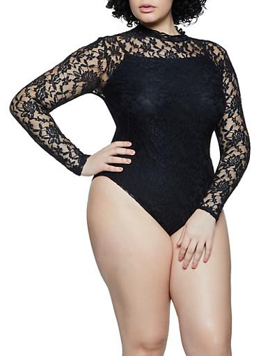 Plus Size Mock Neck Lace Bodysuit,BLACK,large