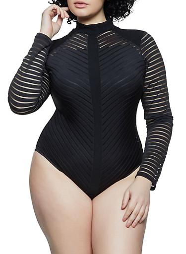 Plus Size Shadow Stripe Bodysuit,BLACK,large