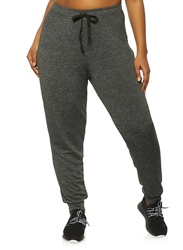 Plus Size Marled Drawstring Joggers,BLACK,large