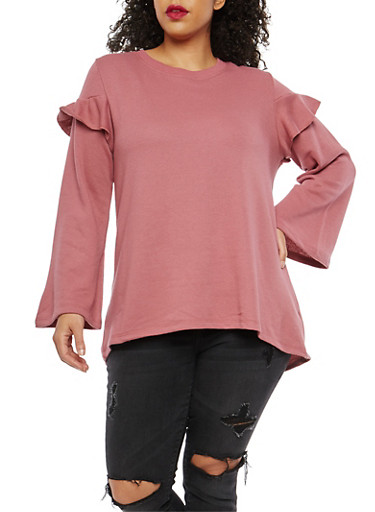 Plus Size High Low Ruffle Sweatshirt,ROSE,large