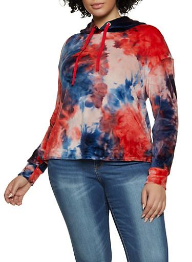 Plus Size Velour Tie Dye Sweatshirt,MULTI COLOR,large