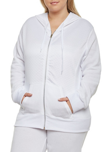 Plus Size Quilted Hoodie with Zip Front,WHITE,large