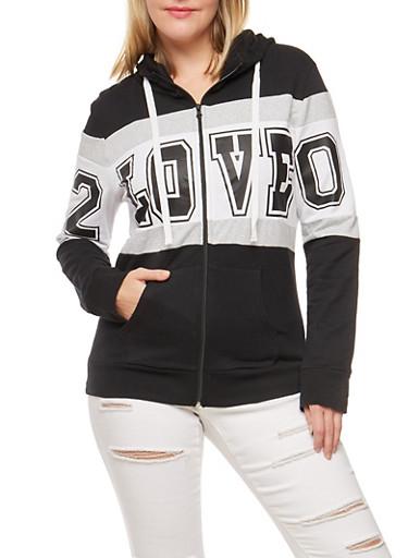 Plus Size Color Block Love Graphic Zip Front Sweatshirt,BLACK,large