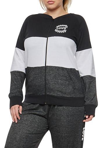 Plus Size Color Block Zip Front Sweatshirt,BLACK/WHITE,large