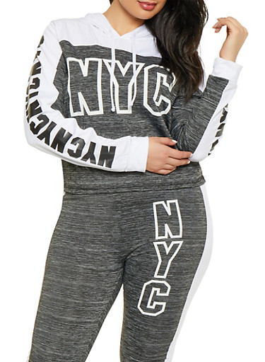 Plus Size NYC Graphic Active Sweatshirt,CHARCOAL,large