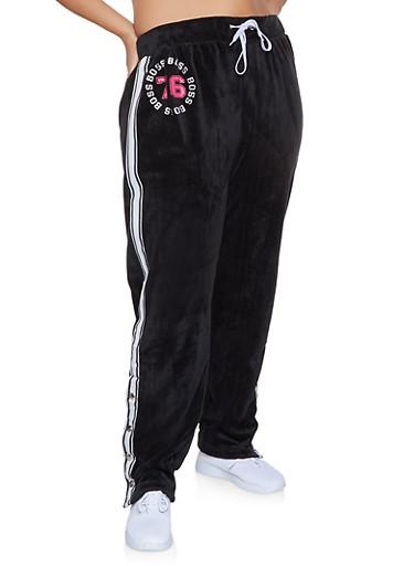 Plus Size Boss Velour Flyaway Sweatpants,BLACK,large