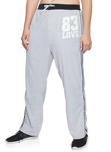 Plus Size Love Graphic Flyaway Velour Sweatpants,BLACK,large