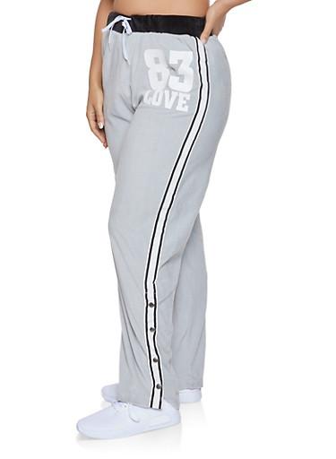 Plus Size Love Graphic Flyaway Velour Sweatpants,HEATHER,large