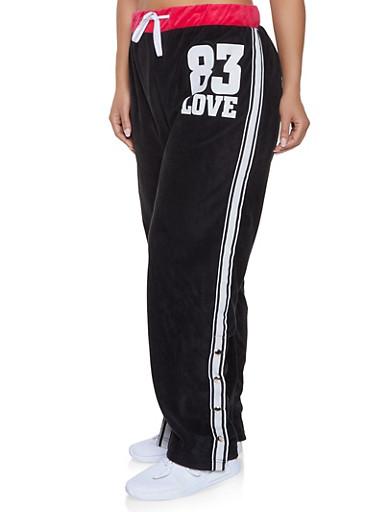 Plus Size Love Graphic Flyaway Velour Sweatpants,FUCHSIA,large