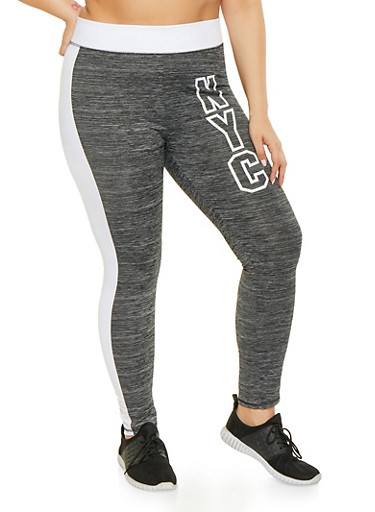 Plus Size NYC Foil Graphic Activewear Leggings,CHARCOAL,large