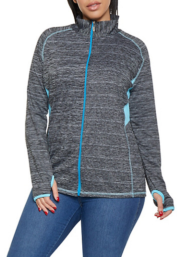 Plus Size Zip Front Activewear Top,CHARCOAL,large