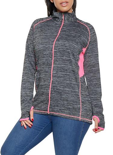 Plus Size Zip Front Activewear Top,PINK,large