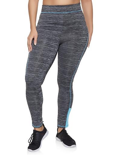Plus Size Contrast Trim Activewear Leggings,CHARCOAL,large