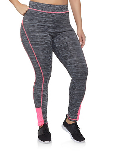 Plus Size Contrast Trim Activewear Leggings,PINK,large