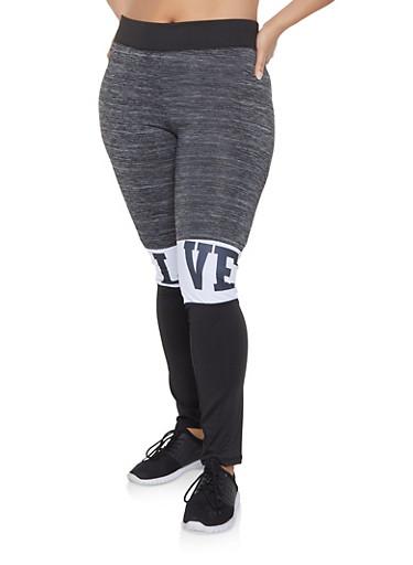 Plus Size Color Block Love Graphic Leggings,CHARCOAL,large