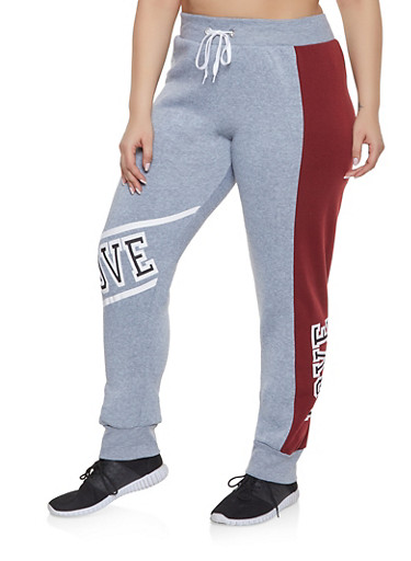 Plus Size Love Graphic Sweatpants,CHARCOAL,large