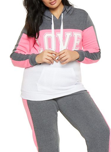 Plus Size Love Graphic Color Blocked Sweatshirt,PINK,large