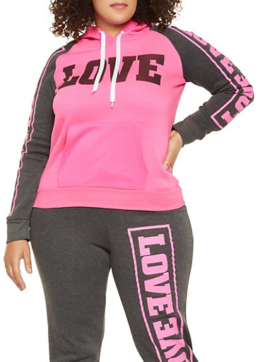 Plus Size Love Graphic Pullover Sweatshirt,PINK,large