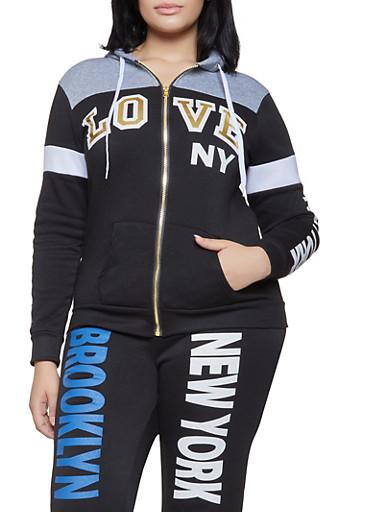 Plus Size Graphic Color Block Sweatshirt,BLACK,large