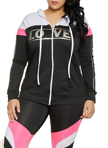 Plus Size Color Block Love Activewear Top,BLACK,large