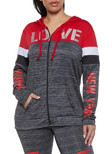 Plus Size Love Foil Color Block Activewear Top,CHARCOAL,large